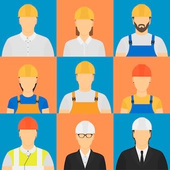 Nove avatares de trabalhadores.