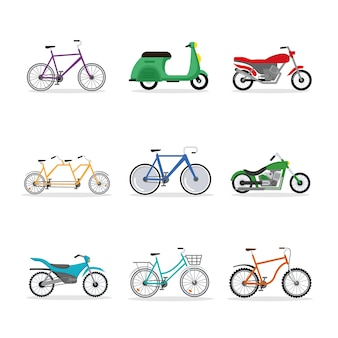 Nove bicicletas e veículos motorizados
