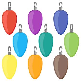 Nove bolas de natal coloridas em um fundo branco. ilustração vetorial.
