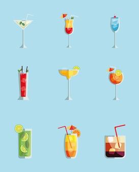 Nove coquetéis tropicais xícaras de bebidas