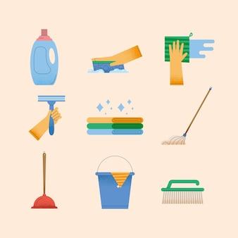 Nove cuidando de ícones domésticos