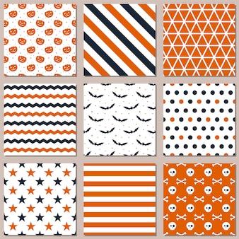 Nove diferentes padrões sem emenda para o halloween.