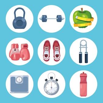 Nove equipamentos de ginástica
