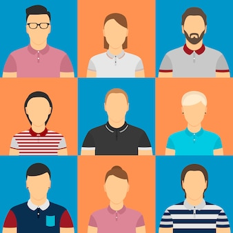 Nove humanos em avatares de camisa polo.