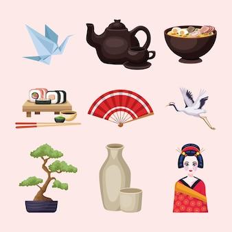 Nove ícones country do japão