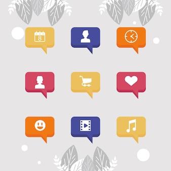Nove ícones da rede social