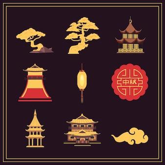 Nove ícones de celebração da lua chinesa