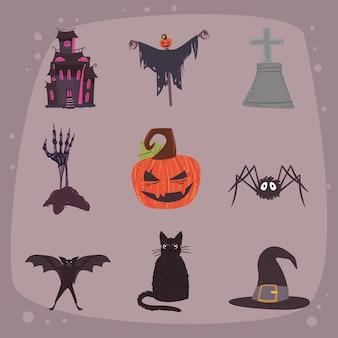 Nove ícones de celebração do dia das bruxas