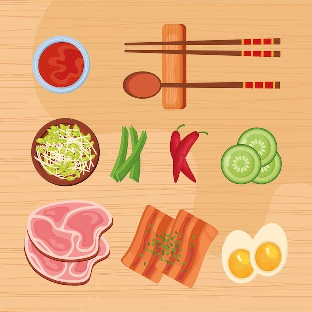 Nove ícones de comida coreana