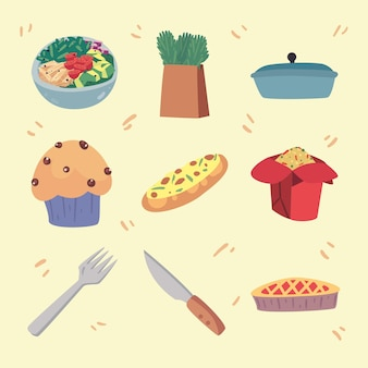 Nove ícones de conjunto de comida caseira