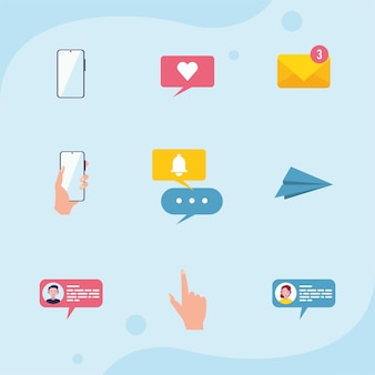 Nove ícones de conjunto de comunicação de mensagens