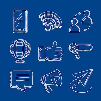 Nove ícones de conjunto de mídia social