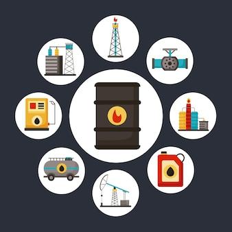 Nove ícones de conjuntos de indústria de petróleo