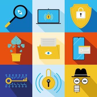 Nove ícones de conjuntos de tecnologia de segurança cibernética