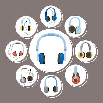 Nove ícones de dispositivos de fones de ouvido