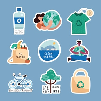 Nove ícones de estilo de vida verde