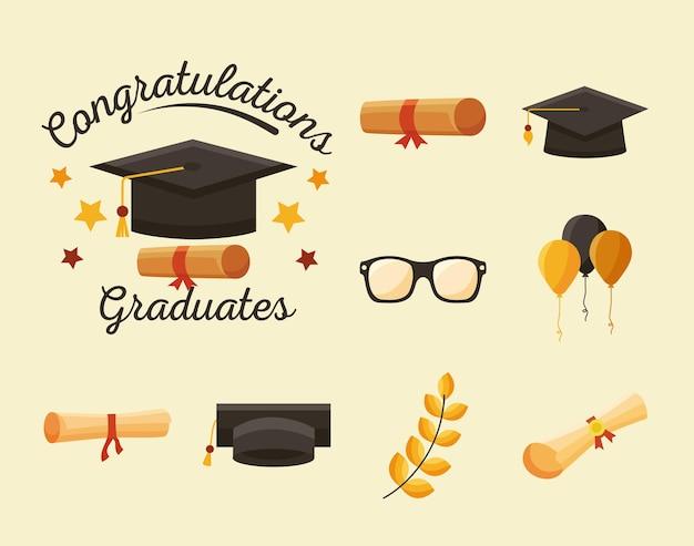 Nove ícones de graduados de parabéns