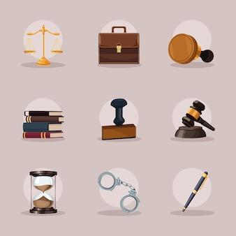 Nove ícones de justiça judiciária