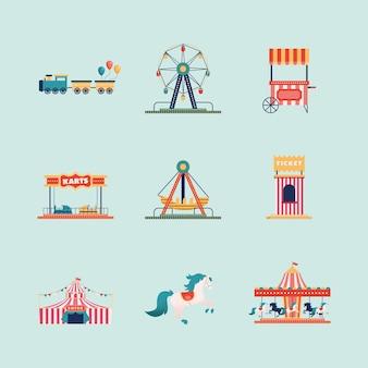Nove ícones de parque de diversões