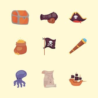 Nove ícones de piratas