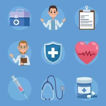 Nove ícones de saúde médica
