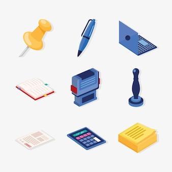 Nove ícones de serviços notariais