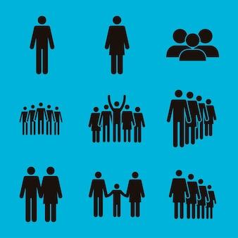 Nove ícones de silhuetas de população