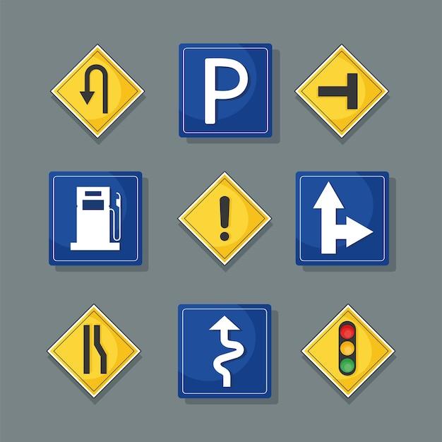 Nove ícones de sinais de trânsito