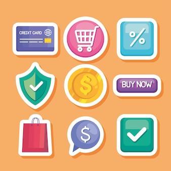 Nove ícones de tecnologia de compra