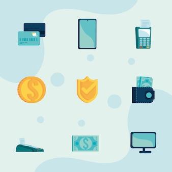 Nove ícones de transações móveis