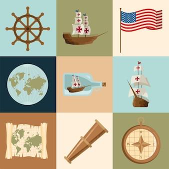 Nove ícones do dia columbus