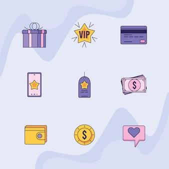 Nove ícones do programa de fidelidade