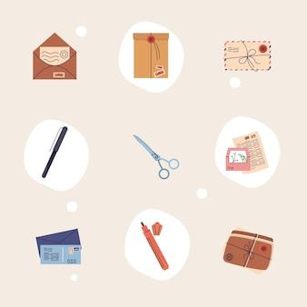 Nove ícones do serviço postal