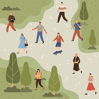 Nove pedestres caminhantes