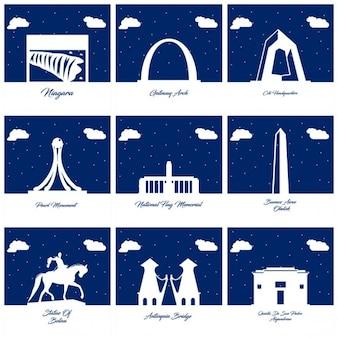 Nove silhuetas de monumentos