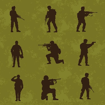 Nove silhuetas de soldados militares