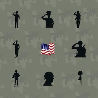 Nove silhuetas do dia dos veteranos