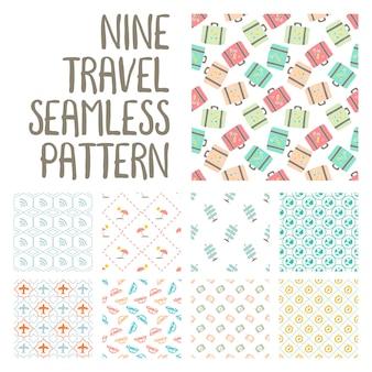Nove viagens sem costura padrão ilustração no vector pack