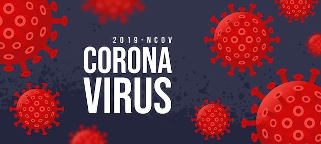 Novel coronavirus 2019-ncov. vírus covid 19-ncp. coronavírus ncov denotado é vírus de rna de fita simples. plano de fundo com células de vírus amarelo 3d realistas. banner horizontal, pôster, cabeçalho do site
