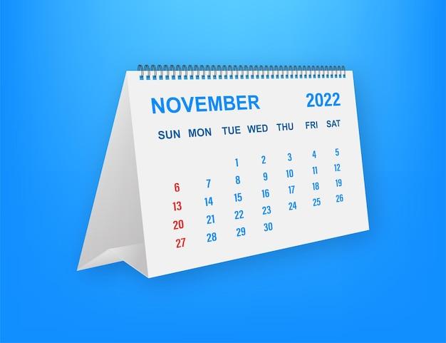 Novembro de 2022 folha de calendário. calendário 2022 em estilo simples. ilustração vetorial.
