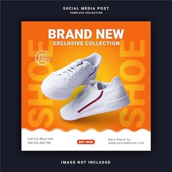 Novíssima coleção exclusiva sapatos banner de postagem no instagram modelo de postagem em mídia social