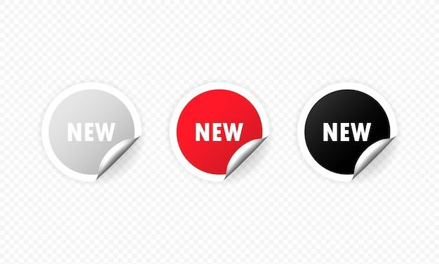 Novo adesivo, botão, rótulo, banner, vetor. novo conjunto de adesivos promocionais