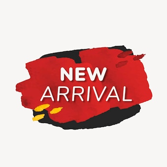 Novo adesivo de distintivo de chegada, textura de tinta, vetor de imagem de compras