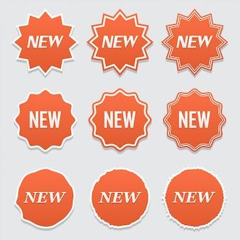 Novo adesivo, etiqueta ou conjunto de tags.