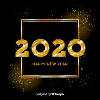 Novo ano 2020 em estilo dourado