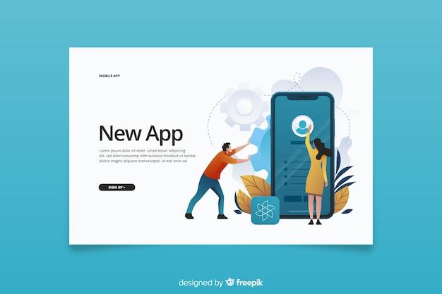 Novo aplicativo para página de destino de telefones celulares