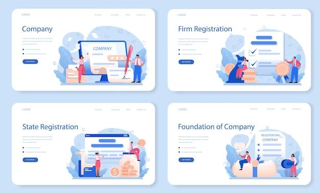 Novo banner da web de registro de empresa ou conjunto de páginas de destino