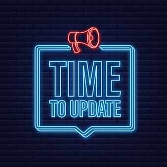 Novo banner de atualização em estilo moderno. ícone de néon. designer de web. ilustração em vetor das ações.