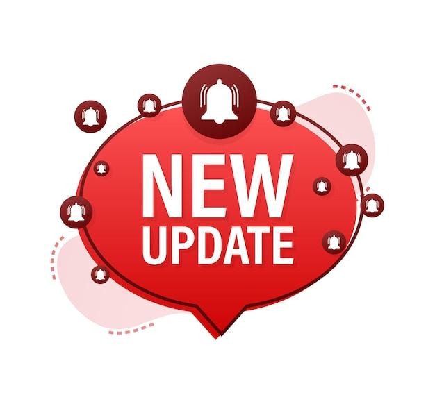 Novo banner de atualização vermelho em estilo moderno. designer de web. ilustração em vetor das ações.