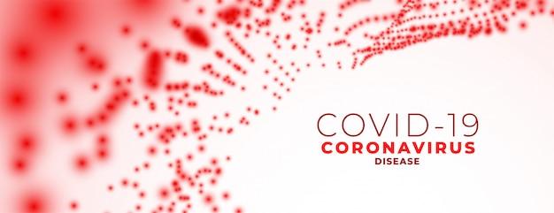 Novo banner de coronavírus com partículas de glóbulos vermelhos